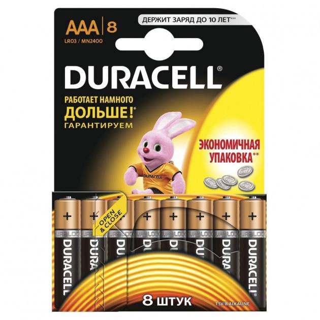 Батарейка ААА 8шт DURAСELL Basic 1.5V  LR03 алкалиновая Бельгия