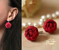 """Красные серьги цветы из полимерной глины  """"Красные пионы"""", фото 1"""