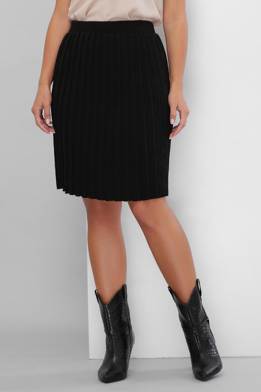 Черная юбка плиссе теплая вязаная