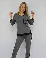 Женский брючный костюм прогулочный трикотажный серый ЛЮКС-качество Турция модный стильный молодежный
