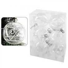 Шарики для елки из прозрачного пластика 6см, 6шт/кор