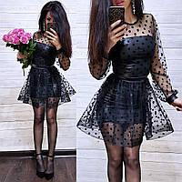 Платье короткое эко кожа + сетка в горошек