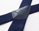 Широкие мужские синие подтяжки с усиленными клипсами, фото 2