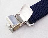 Широкие мужские синие подтяжки с усиленными клипсами, фото 3