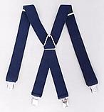 Широкие мужские подтяжки с усиленными клипсами для брюк и штанов 4 см, фото 4