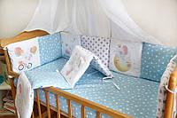 Защита-бортики в кроватку для новорожденных Добрый сон от комплекта Азбука голубой слоник (1-07-2/1)
