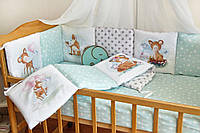 Защита-бортики в кроватку для новорожденных Добрый сон от комплекта Азбука мятные олени (1-07-2/5)