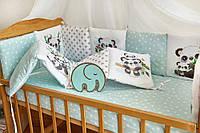Защита-бортики в кроватку для новорожденных Добрый сон от комплекта Азбука мятные панды (1-07-2/4)