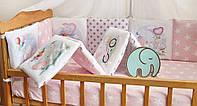 Защита-бортики в кроватку для новорожденных Добрый сон от комплекта Азбука розовый слоник (1-07-2/3)