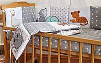 Защита-бортики в кроватку для новорожденных Добрый сон от комплекта Азбука серые животные (1-07-2/6)