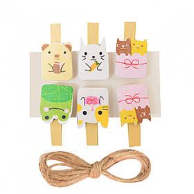 """Набор прищепок деревянных Santi декоративных """"Cute animals"""", 3.5 см, 6 шт./уп."""