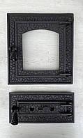 Дверцы для камина печи барбекю MDR 410х370мм. Печная дверца со стеклом