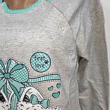 Сорочка теплая на байке серая,для кормления  арт Турция ASMA 7706 размеры S-2XL, фото 2