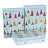 """Новогодние подарочные коробки """"Разноцветные ели"""" набор 3 шт. средние  (21х29х9,5 см)"""