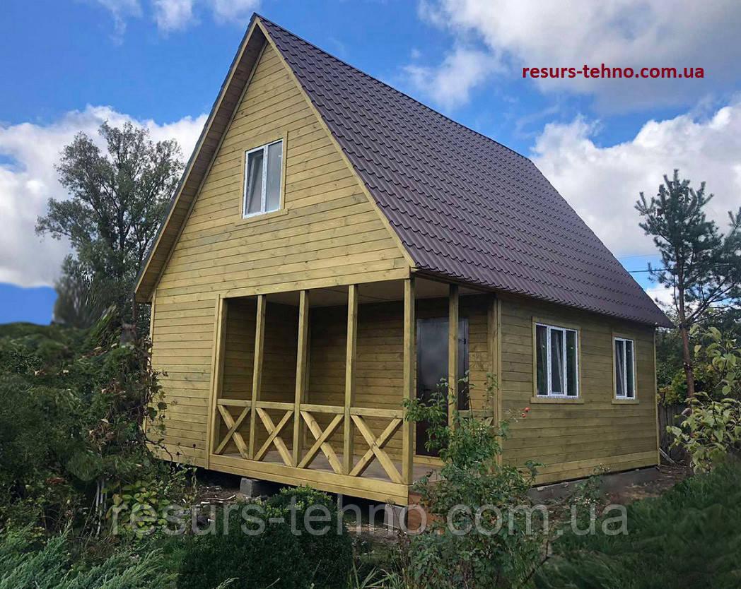 Дачный домик 6,0м х 8,0м из фальшбруса с мансардой.