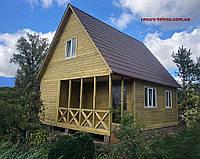 Дачный домик 6,0м х 8,0м из фальшбруса с мансардой., фото 1