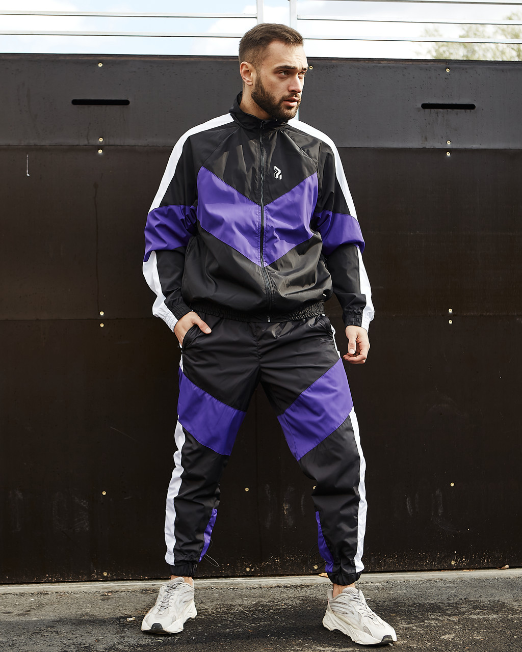 Спортивний костюм чоловічий Гармата Вогонь Split чорно - білий з фіолетовим
