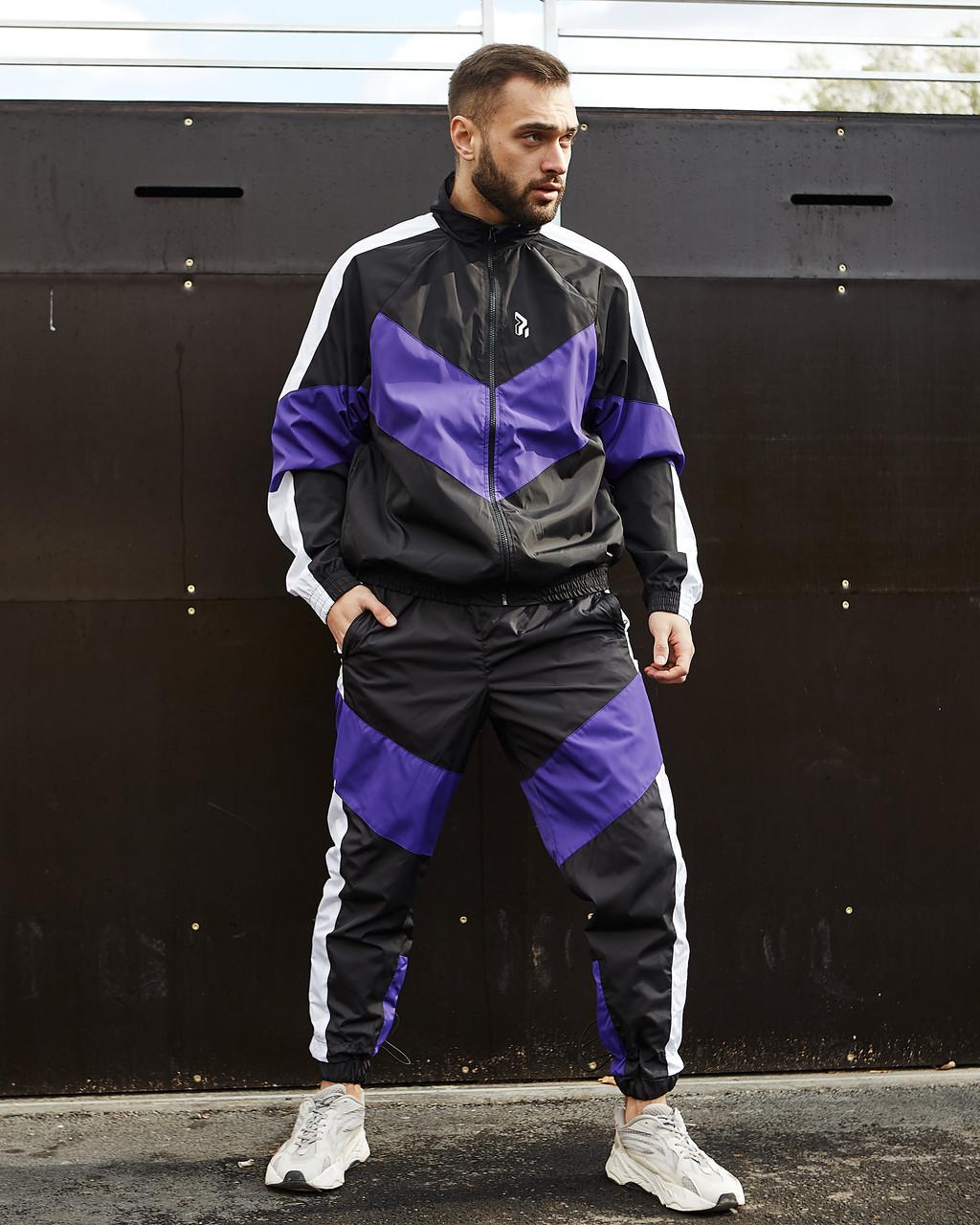 Спортивный костюм мужской Пушка Огонь Split черно - белый с фиолетовым