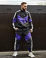 Спортивний костюм чоловічий Гармата Вогонь Split чорно - білий з фіолетовим, фото 1
