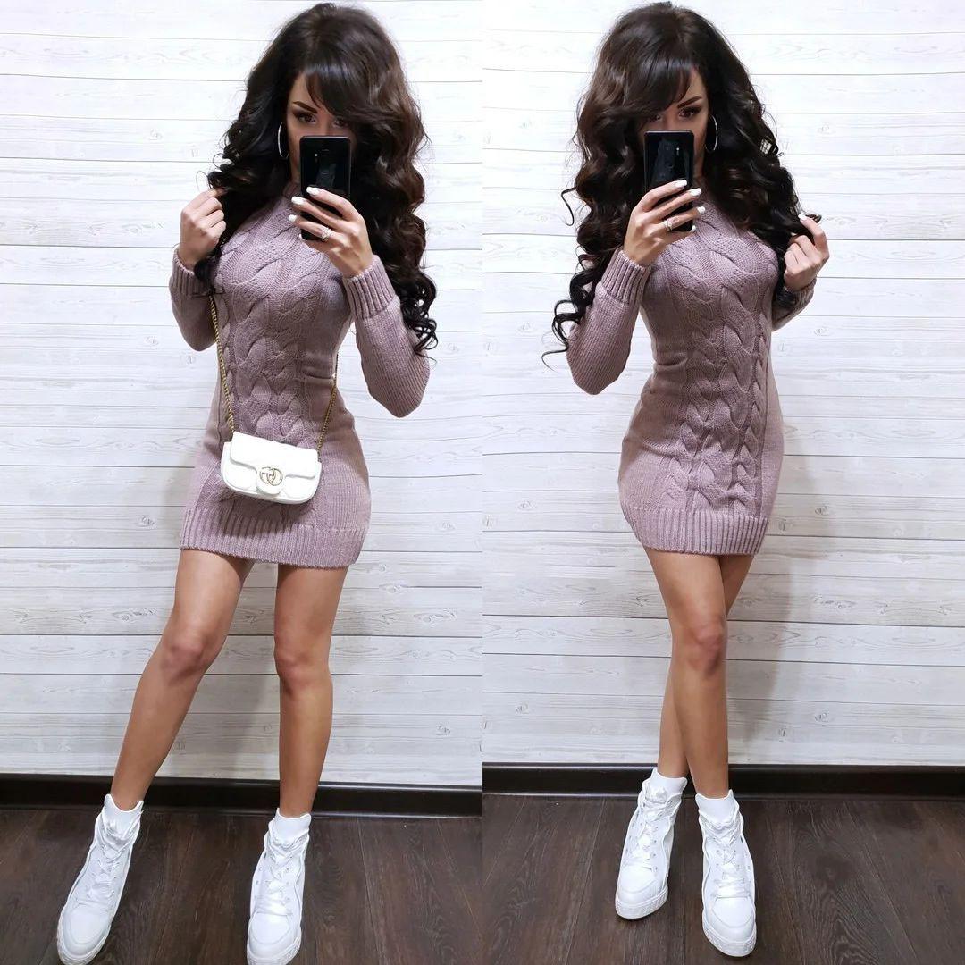 Платье мини вязаное с длинным рукавом шерсть