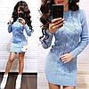 Платье мини вязаное с длинным рукавом шерсть, фото 2