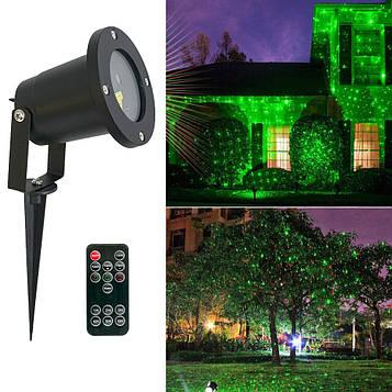 Уличный новогодний лазерный проектор с пультом (корпус цилиндрический, металл) на дом (новорічний проектор)