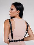 Жіноча портупея «Фріда» чорна з переплетеннями, шкіряна портупея для ігор, фото 2