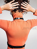Стильная черная портупея для ярких и смелых, кожаная портупея для танцев, фото 2