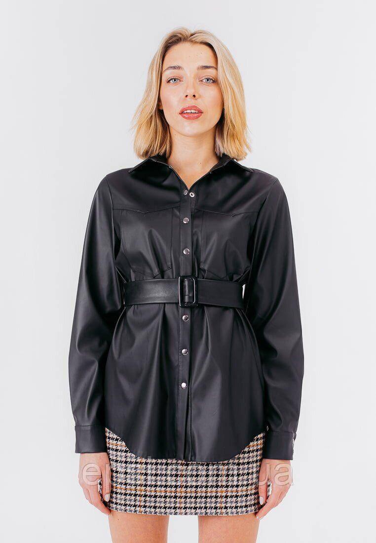 Женская рубашка из экокожи Bessa 2467-L черная