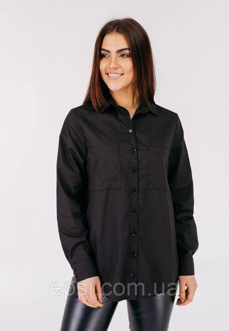 Женская хлопковая рубашка с карманом Bessa 2473-M черная