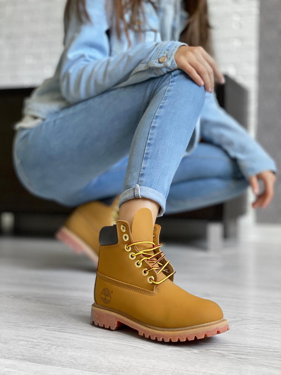 Женские зимние ботинки Timberland brown (Реплика ААА)