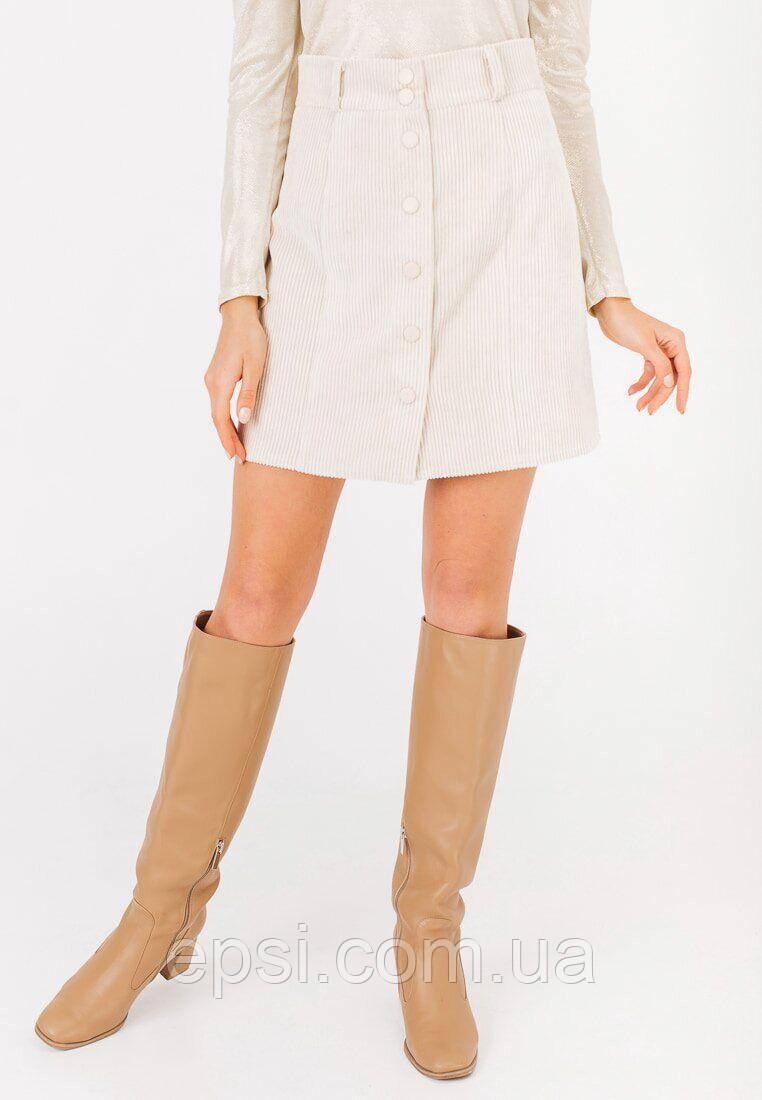 Женская юбка мини из вельвета Bessa 4526-XL молочная