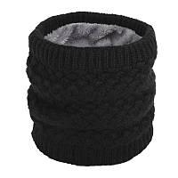 Теплый женский черный снуд - хомут под горло на меху, стильный вязаный бафф с меховой подкладкой