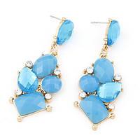 Яркие серьги гвоздики с крупными  голубыми камнями
