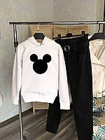 Зимняя толстовка женская Mickey Black белая до -25*С | Худи Кофта теплая на флисе с капюшоном ЛЮКС качества