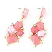 Яркие серьги гвоздики с крупными  розовыми камнями