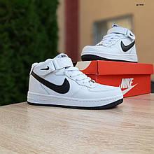 Женские зимние кроссовки  Nike Air Force 1 AF1 белые с чёрным