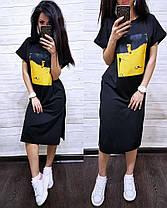 Сукня футболка вільний з накаткою розрізи з боків, фото 2