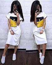 Сукня футболка вільний з накаткою розрізи з боків, фото 3