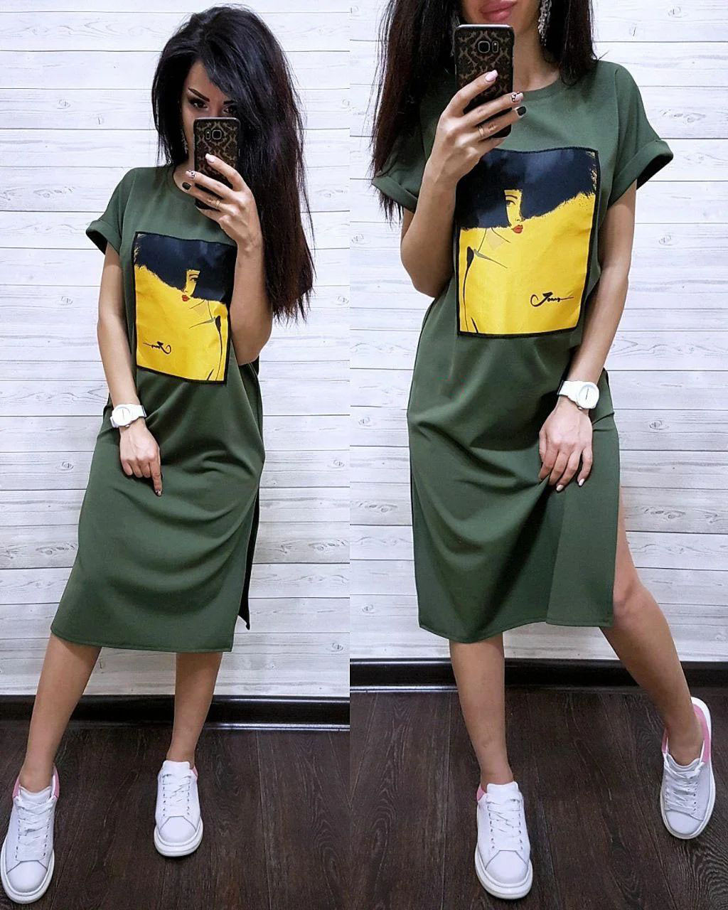 Сукня футболка вільний з накаткою розрізи з боків