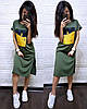Платье футболка свободное с накаткой по бокам разрезы, фото 2