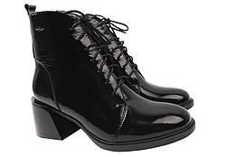 Ботильоны женские на каблуке из натуральной лаковой кожи, черные R&Y Украина