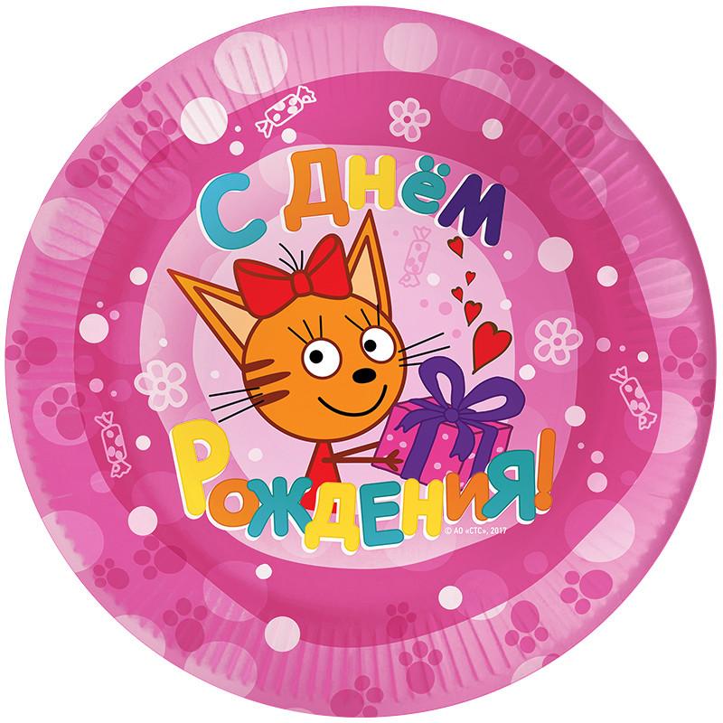 ДБ (7''/18 см) Три Кота, С Днем Рождения!, Розовый, 6 шт.. Тарелки одноразовые С Днем рождения Три кота