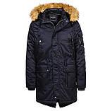 Мужская зимняя теплая удлиненная парка куртка с меховым капюшоном, фото 2