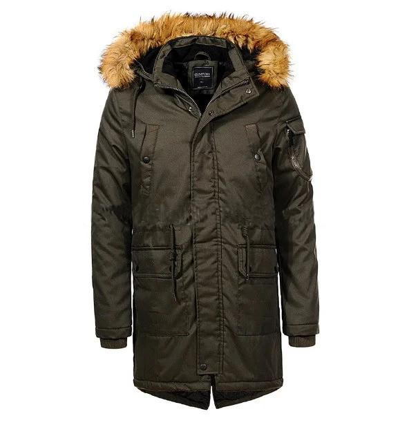 Мужская зимняя теплая удлиненная парка куртка с меховым капюшоном