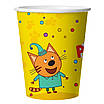 ДБ Склянки (250 мл) Три Кота, З Днем Народження!, Жовтий, 6 шт.. Одноразовий посуд для свят, фото 4