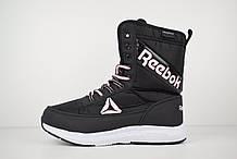 Женские зимние спортивные ботинки Reebok (сапоги) черные с розовым