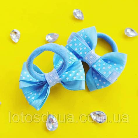 Бант репсовый в горошок для маленьких хвостиків, блакитний, фото 2