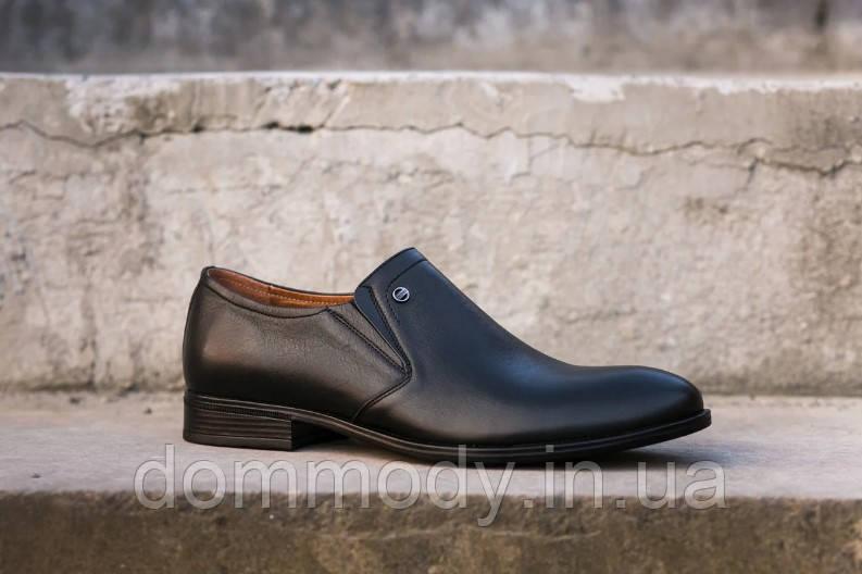 Туфли мужские из кожи на резинках