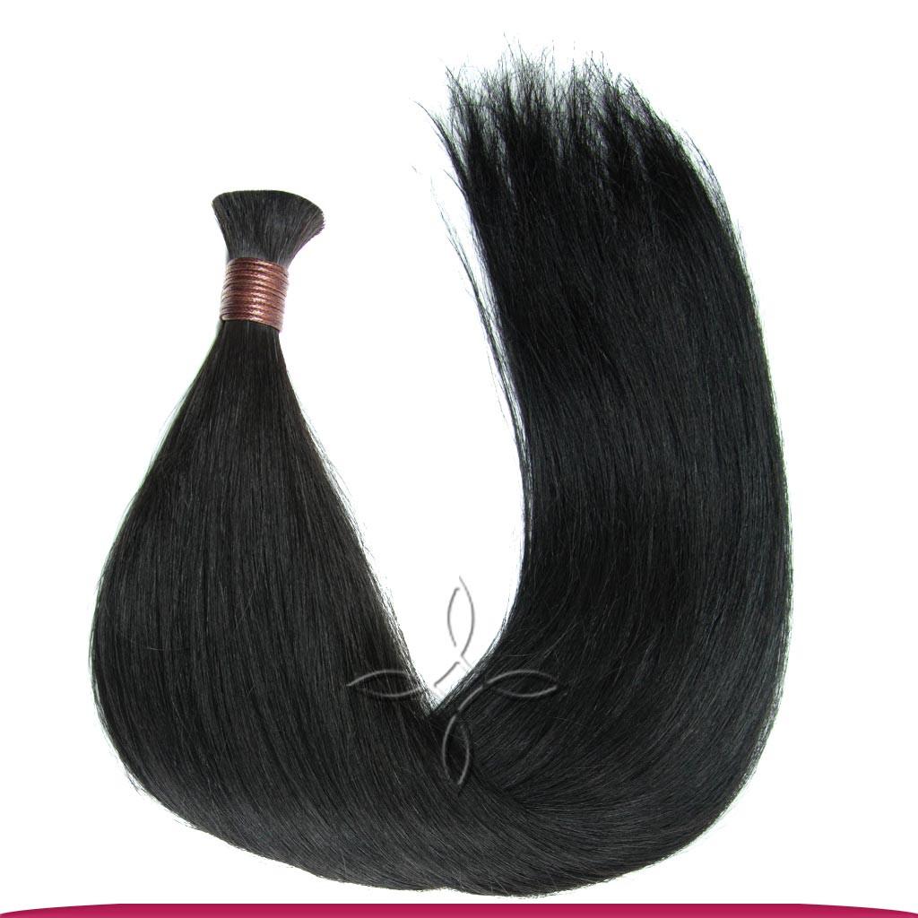 Натуральные Славянские Волосы в Срезе 50 см 100 грамм, Черный №01